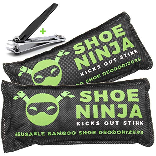 Lot de 2sachets anti-odeurs au charbon actif pour chaussures, avec coupe-ongles offert, grand format, 75g