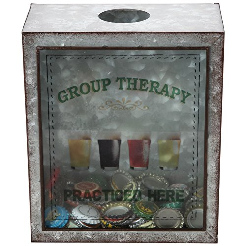 Lily's Home Group Therapy Practiced Here Beer Cap Holder, Shadow Box Makes it a Gift for the Happy and Hydrated Beer Lover, Galvanized Metal