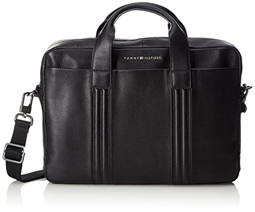 Tommy Hilfiger heren business lederen computer tas laptop tas, zwart (black) 8x29x41 cm