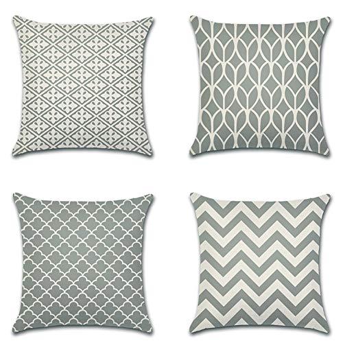 Artscope Moderne Geometrische Kissenbezug, 4er Set Dekokissen Kissenhülle Kissen Fall für Sofa Auto Schlafzimmer 45x45cm Grau