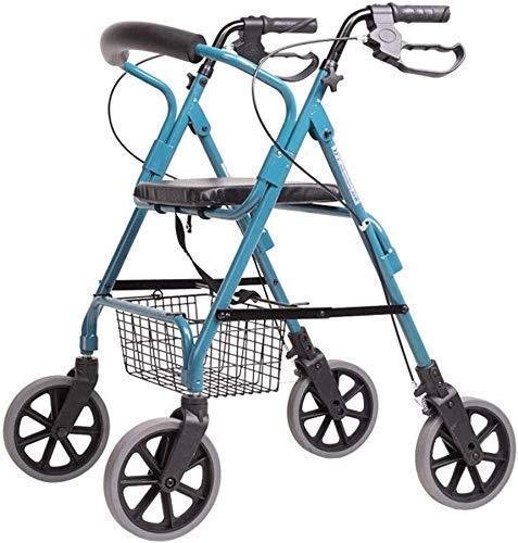 Walking Frame Old Man Einkaufswagen, Old Man Trolley Walker Aluminiumlegierung Allrad faltbar mit Sitzhilfen Leichtgewicht