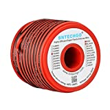 BNTECHGO 18 Gauge Flexible 2 Conductor Parallel Silicone Wire Spool Red Black High Resistant 200 deg C 600V for Single Color LED Strip Extension Cable Cord,Model,50ft Stranded Copper Wire