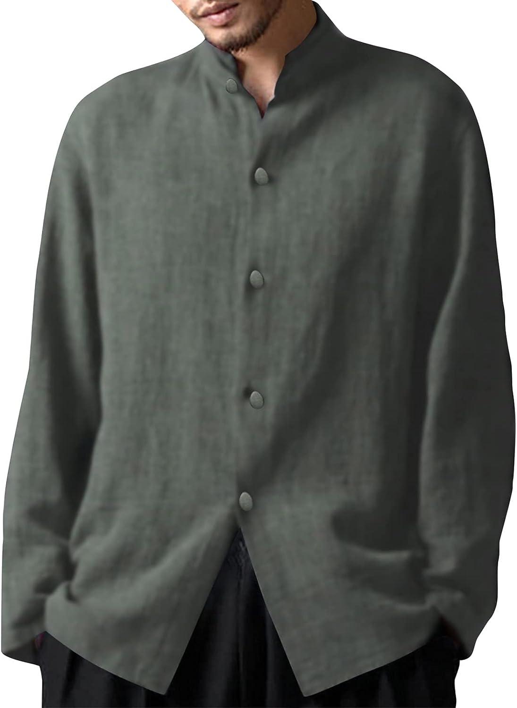 FORUU Linen Shirts Men 2021,Fall Winter Stand-up Collar Shirts Casual Long Sleeve Button Down Shirts Loose Shirt