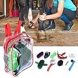 Zouminyy Kit de Cuidado de peluquería de Caballos, Cepillo de plástico para Caballos, Herramienta de Limpieza de Caballos, Kit de Cuidado de peluquería de Caballos, Juego de cepillos de Madera para
