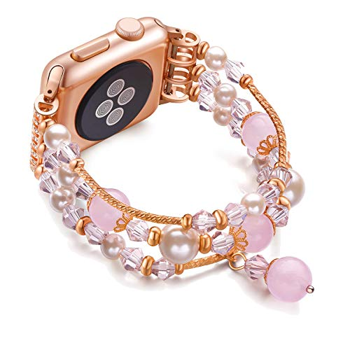 JuQBanke Compatible for Apple Watch Band 42mm 44mm, Jewelry Fashion Stretch Crystal Pearl Bracelet Replacement Womens Strap, Compatible for iWatch Series 5/4/3/2/1(Rose Gold, S/M)