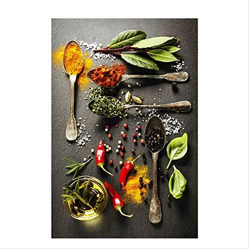 Granen Kruiden Lepel Peper Keuken Canvas Schilderijen Navia Posters En Prints Muurschilderingen Voedsel Voedsel Foto's Woonkamer 40X60 Cm Geen lijst