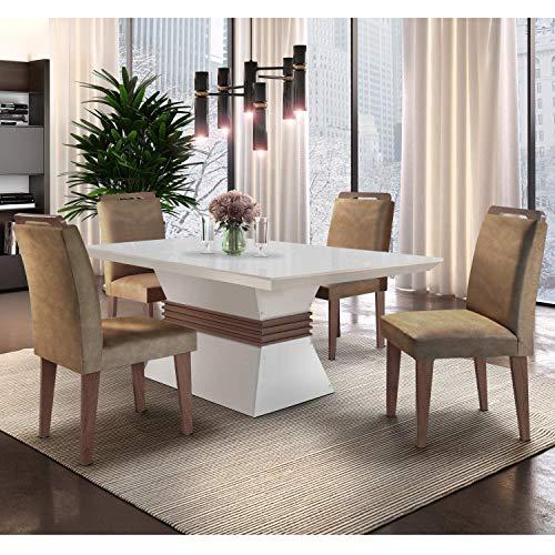 Conjunto Sala de Jantar Mesa e 4 Cadeiras Santorini Siena Móveis Animalle Chocolate/Off White/Café