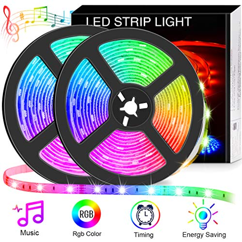 Bluetooth LED Strip Lights 328ft App Control Music Sync Color Changing RGB Light Strip with Remote 300LEDs IP65 Waterproof Flexible 5050 Neon Lights Dimmable for Room Bedroom TV Party 12V 5A Power