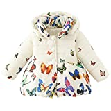 Baby Girls Winter Autumn Cotton Warm Butterfly Jacket Coat (6M, Beige)