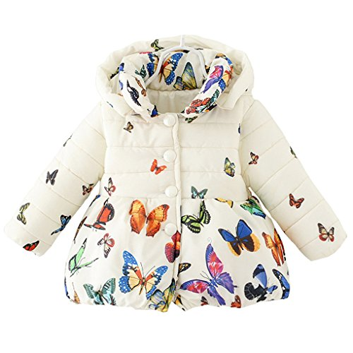 Baby Girls Winter Autumn Cotton Warm Butterfly Jacket Coat (3T, Beige)