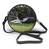 TURFED PU rotonda Borsa a tracolla classica Cat mouse iniziare la caccia Giocare Animal Snap Shoulder Bag