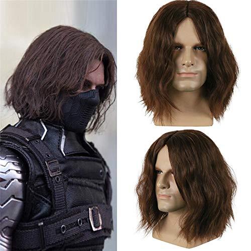 Cool Captain America Civil War Winter Soldier Bucky Barnes Cosplay Parrucche Marrone Scuro Party Halloween Hair Toupee Con Retina