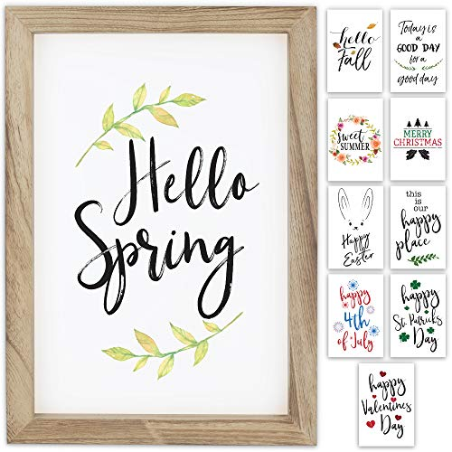 "Farmhouse Wall Decor Signs With 10 Interchangeable Sayings For Easter & Spring Decor - Easy To Hang 11x16"" Rustic Wood Picture Frame with 10 Designs - Spring Decorations For Your Home"