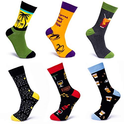 Hi-Tie Lustige Socken für Herren, 6er-Pack, lustig, bunt, Neuheit, verrückt gemustert, Crew-Kleidsocken. - Gr�n - Medium