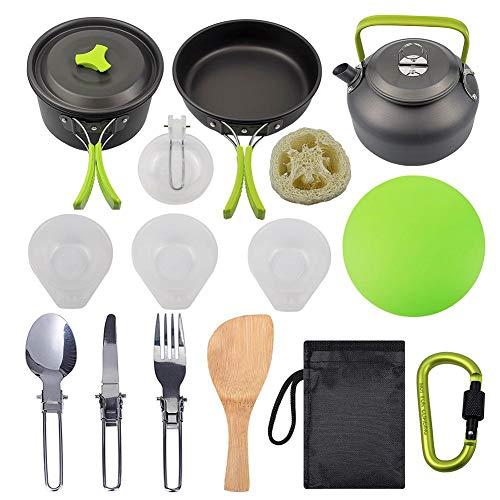 NGHXZ Camping-kookset, anti-aanbaklaag en backpackinglicht, willekeurige gereedschappen, 16 stuks