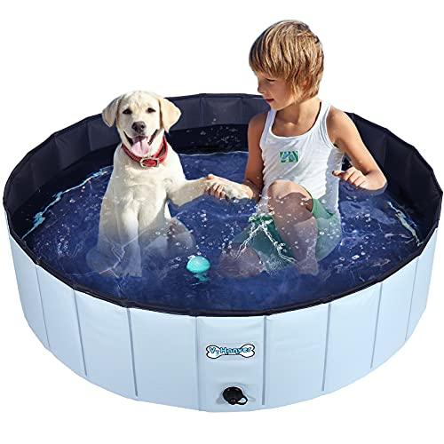 V-HANVER Faltbarer Hundepool für Kleine Mittlere und Große Hunde, Robust Material Planschbecken Bällebad Hunde Pool für Kinder und Hunde mit Durchsichtige Gummitragetasche, 100% Sicher 120CM Upgraden