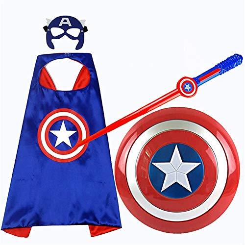 Escudo De Capitn Amrica Disfraz Capitn Amrica Set - Carnaval - Halloween -Superhroe - Color Azul - Regalo Para Nios
