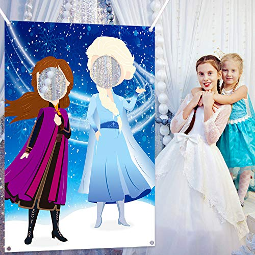 Ticiaga Frozen Photo Door Banner, Large Fabric Elsa Face Photography Banner Background, Pretend Play Party Game Backdrop Props, Winter Wonderland Party Decoration, Princess Theme Party Favor Supplies