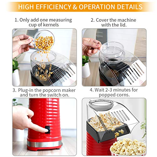 Product Image 3: Fast Hot Air Popcorn Popper With Top Cover,Electric Popcorn Maker Machine,Healthy & Delicious Snack For Family Gathering,Easy To Clean,ETL Certified,Safe
