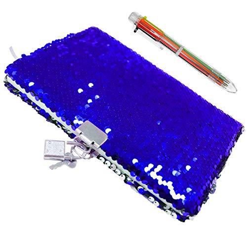 FUQUN Magic Pailletten-Notizbuch und Kugelschreiber, buntes DIY Wendbares Pailletten-Tagebuch, abschließbares Tagebuch mit Vorhängeschloss und Schlüssel, schönes Geburtstagsgeschenk für Mädchen