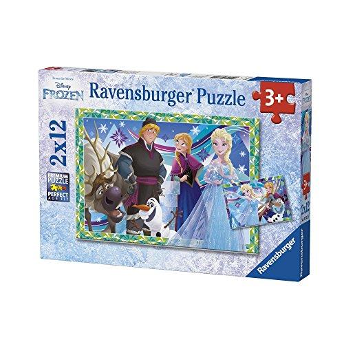 Ravensburger- Disney Pack de 2 Puzzles Jeux d'hiver Reine des Neiges 12 pièces, 07621