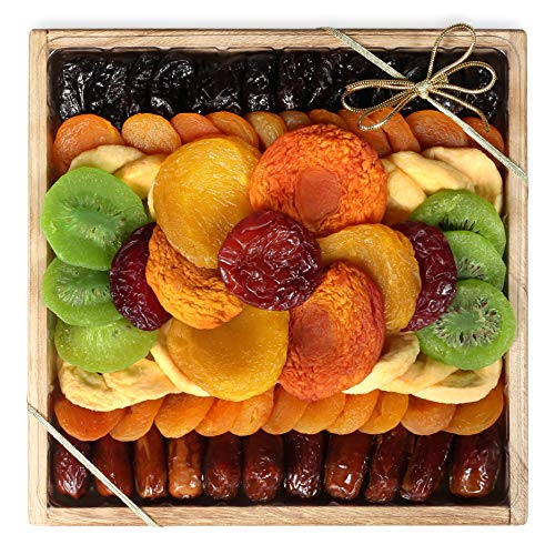 Milliard Dried Fruit Gift Platter Basket Arrangement Nut Free on Wood Tray for Occasions including New Years, Valentines Day, Mothers Day and Holiday - 25 Ounce Assortment
