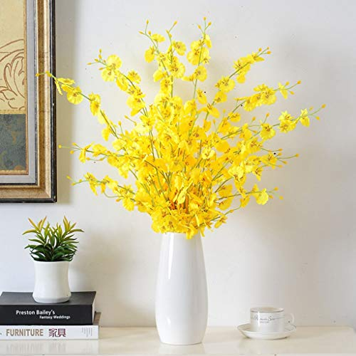 Falso Artificial Orquídea Seda Baile Amarillo de Las Flores de Las orquídeas Señora Tallos de Flor con el florero Blanco for el Partido del hogar decoración de la Boda