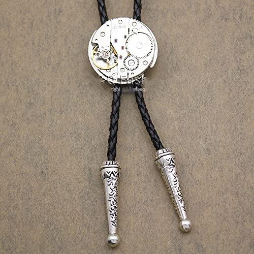 Wuyuana Bolo tie - Reloj de pulsera para hombre, chapado en movimiento, estilo steampunk, estilo occidental, collar de bolo, joyería y corbata (color: plata)
