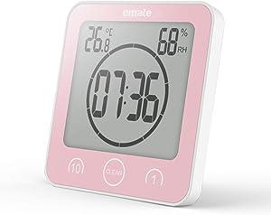XIAOMEI Imperméable Salle de Bains Horloge numérique Alarme écran Tactile Température Humidité Affichage Ventouse Horloge Murale-Rose
