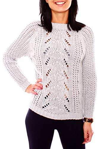 Easy Young Fashion dames trui gebreide trui met ronde hals wintertrui Ajour vlechtpatroon