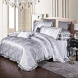 Semplice raso biancheria da letto in cotone 4 pezzi cerniera invisibile copriletto jacquard lenzuola federe per la casa singolo/matrimoniale moderno C bianco