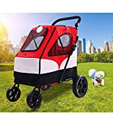 LOVEPET Gran Cochecito para Mascotas Carrito Grande para Perros Espacio Plegable Grande Teniendo 55KG para Uso Saliente