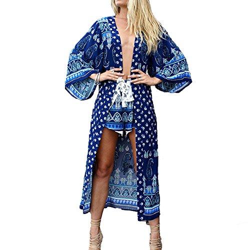 Women es Casual Bohomia Aztec Style Lange Glocke Ärmel Schal Cardigan Lange Abdeckung UPS Royal Blue eine Größe