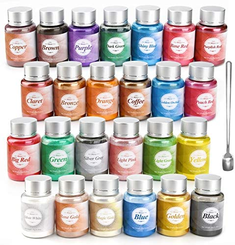 Wtrcsv 25 Colours Natural Mica Powders,Resin Colour Pigment,10g(0.35oz)/Bottle,Soap Making Colouring Dye,Pigment for Epoxy Resin,Bath Bombs,Nails,Slime,Make-up,Artwork,DIY Crafts