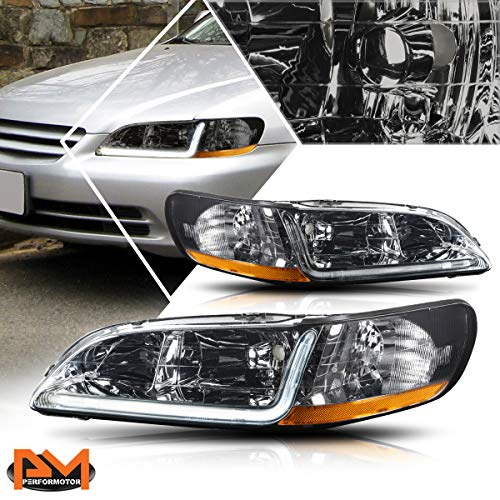 2 Peice Headlight(Headlamp) Assembly w/LED DRL Bar Compatible with Honda Accord 98-02,Smoked Housing/Amber Corner