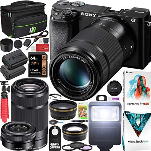 Sony a6100 Mirrorless Camera 4K APS C ILCE 6100YB with 2 Lens Kit 16 50mm 55 210mm and Deco product image