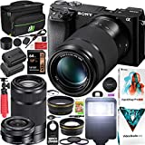 Sony a6100 Mirrorless Camera 4K APS-C ILCE-6100YB with 2 Lens Kit 16-50mm + 55-210mm and Deco Gear Case + Extra Battery + Flash + Wide Angle & Telephoto Lens + Filter Kit + 64GB Accessories Bundle