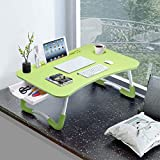 Slendor Laptop Desk Laptop Bed Stand Foldable Laptop Table Folding Breakfast Tray Portable Lap Standing Desk Reading and Writing Holder with Drawer for Bed Couch Sofa Floor