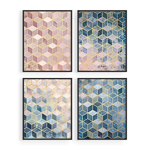 Geometric Wall Art Prints Set - By Haus and Hues | Abstract Wall Art Set of 4 Modern Wall Decor | Modern Abstract Art Posters Contemporary Wall Art Dorm Decor Blue Aesthetic Small Wall Abstract Artwork Bedroom (8
