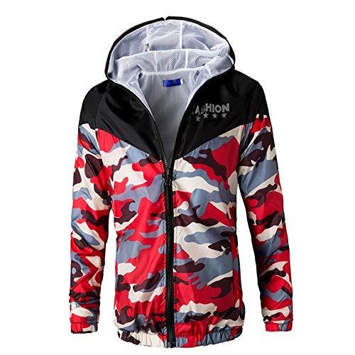 VENMO Herren Camouflage Kapuzenpullover Fleece Zipper Sweater Jacke Outwear Parka Mantel Winterjacke Herrenjacke Pilotenjacke Pelzkragen Kapuzenjacke Outdoorjacke Hoodies (Red_b, S)