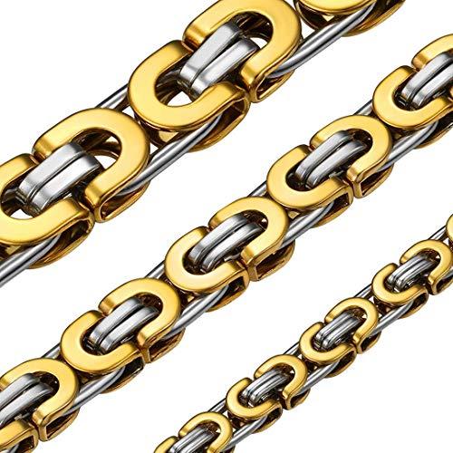 ChainsHouse Collar Bizantino de Oro Real Baño en Acero Inoxidable, 8mm de Ancho 55cm de Largo Cadena para Hombre Mujer, Regalo en Cumpleaños Navidad