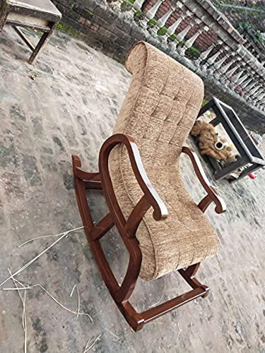 Space Furniture Teak Wood Modern Ergonomic Rocking Chair with Cushion (Brown)
