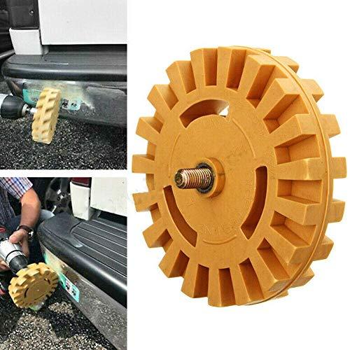 Eliminación de pegatinas, herramienta de goma de 10 cm con adaptador de taladro para quitar calcomanías de vinilo, adhesivos, pegatinas, gráficos de coches, camiones, barcos y mucho más.