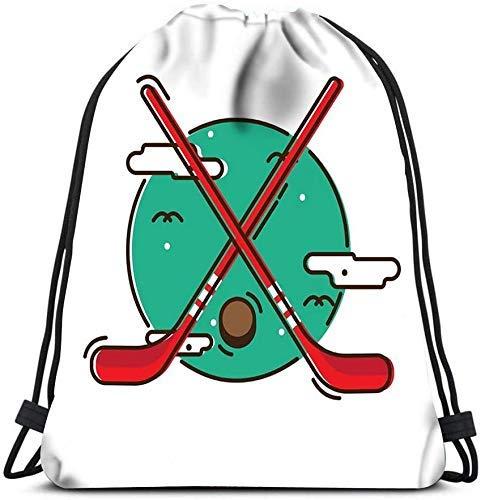 Unisex Drstring Backpack Ice Hockey Sticks and Puck Laundry Bag Gym Yoga Bag Storage Organizer