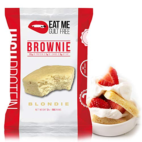 Eat Me Guilt Free Protein Brownie, Low Carb Healthy Snack or Dessert, 22g Protein, Blondie (12 Count) from Eat Me Guilt Free