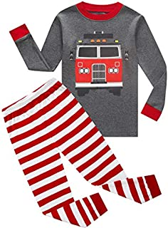 Image of Red Striped Fire Truck Pajama Set for Toddler Boys and Infants