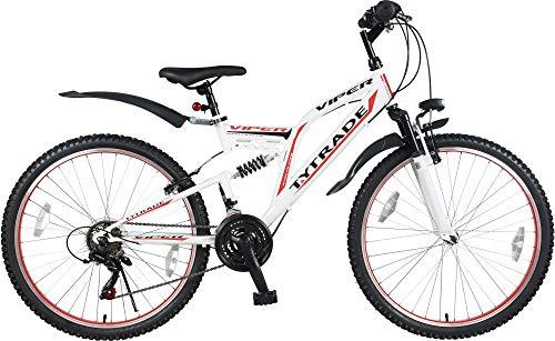T 26 Zoll Kinderfahrrad Herren MTB Mountainbike Kinder Mädchen Fahrrad Rad Bike Jugendfahrrad Viper WEIß ROT TYT19-015