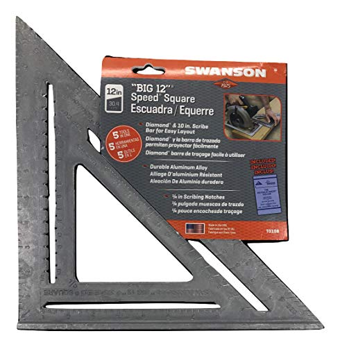 Swanson Tool Co., Inc Swanson T0108 Big 12 Speed Square Layout Tool with Blue Book, Plain gradations, 12-Inch