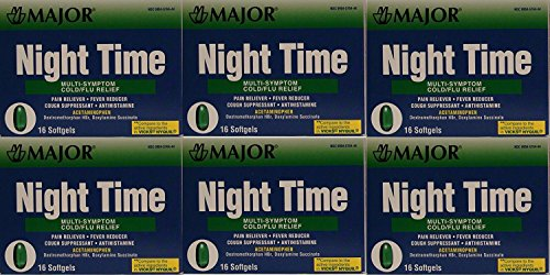 Cold and Flu Multisymptom Relief Rapid Release Gelcaps Night Time Generic for NyQuil 16 per Box Pack of 6 Total 96 Gelcaps