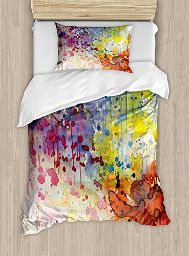 Ambesonne Abstract Duvet Cover Set, Grunge Style Dirty Look with Colorful Watercolor Spots Liquid Splashes, Decorative 2 Piece Bedding Set with 1 Pillow Sham, Twin Size, Orange Red